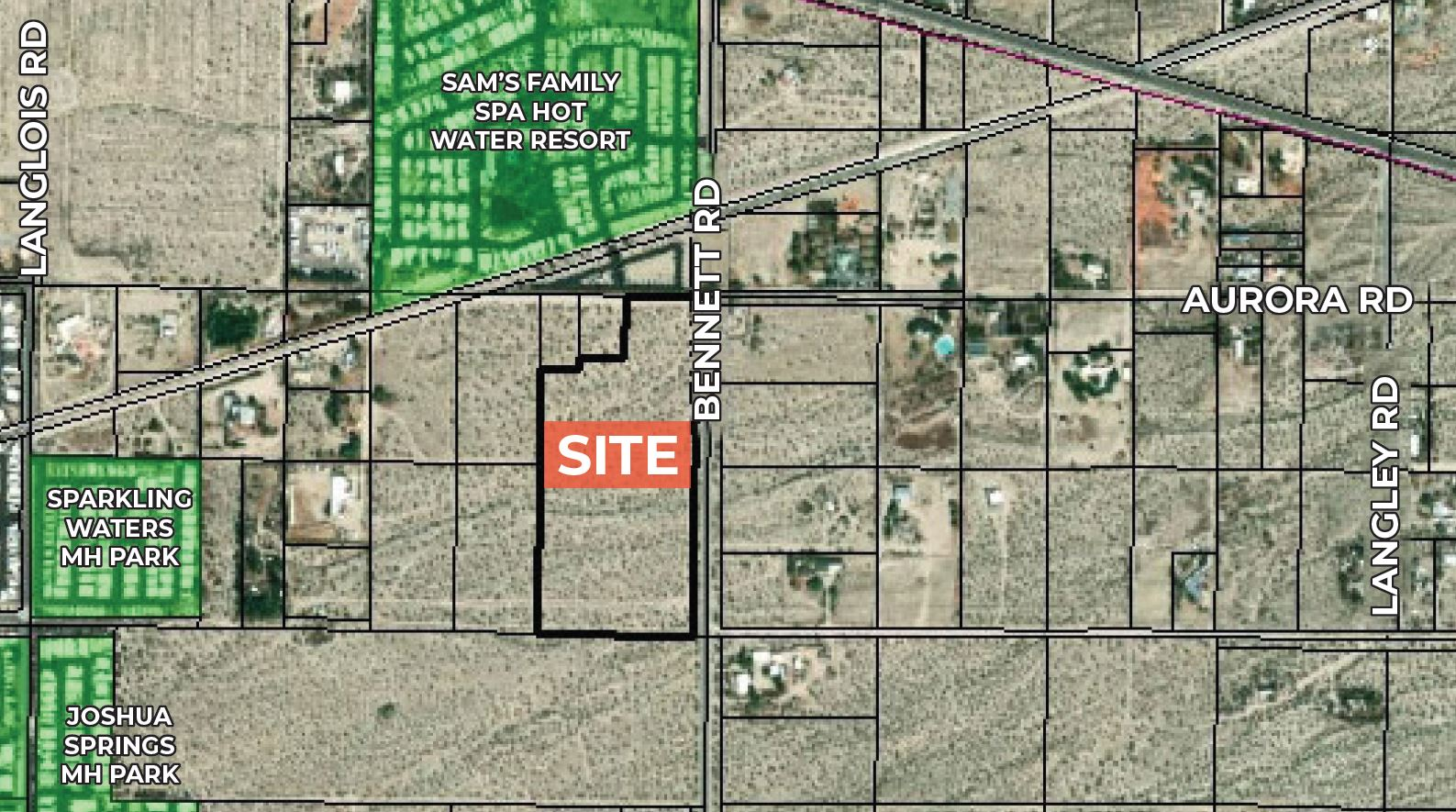 zoomed in aerial of 16.38 acres of land for sale at bennett road sky valley california