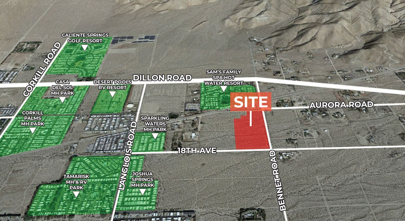 aerial image of 16.38 acres of land for sale at bennett road sky valley california