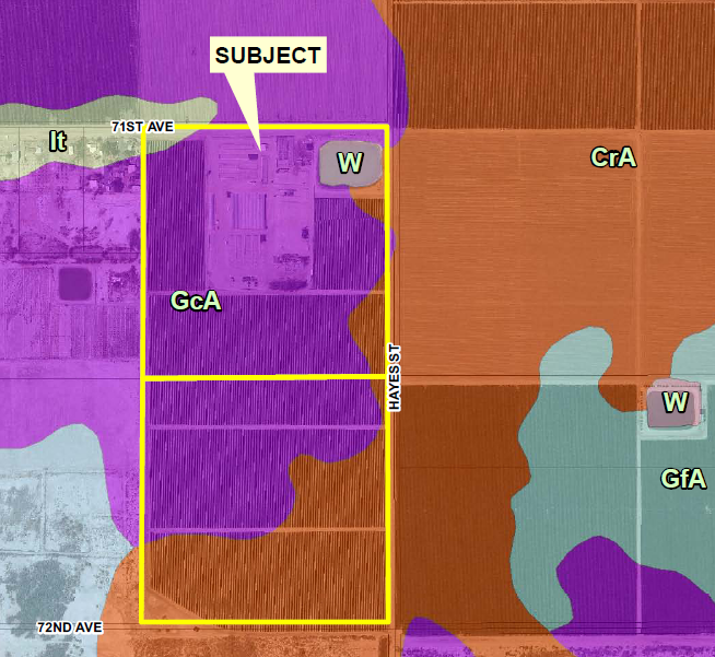 soils map of 80 acres land for sale at 71st hayes street mecca california