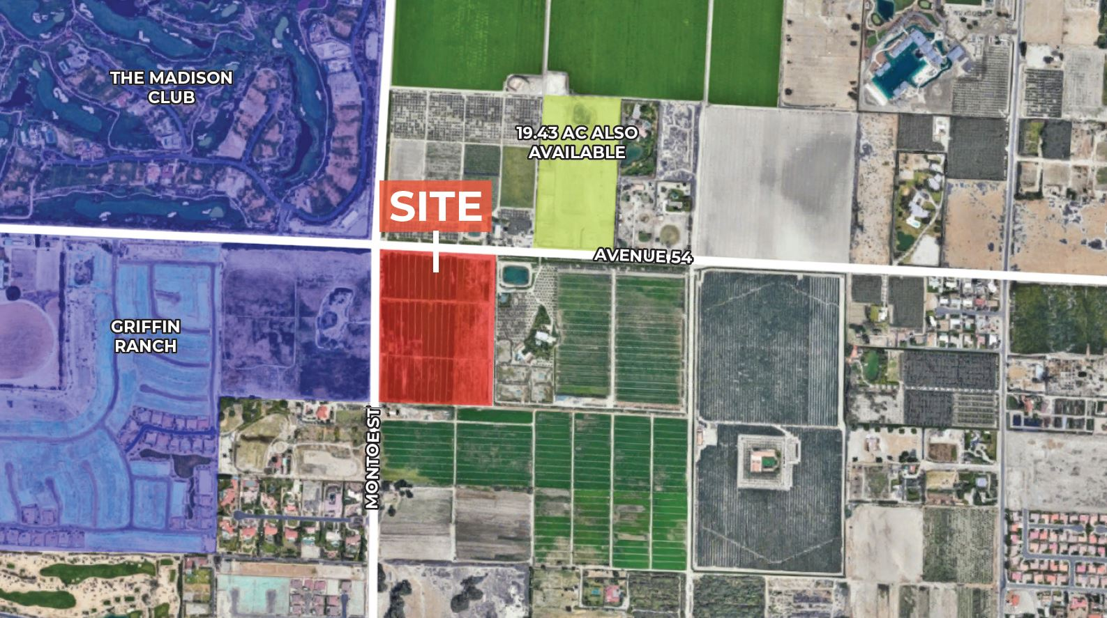 zoomed aerial image of 28.2 ac agricultural land for sale at avenue 54 vista santa rosa california