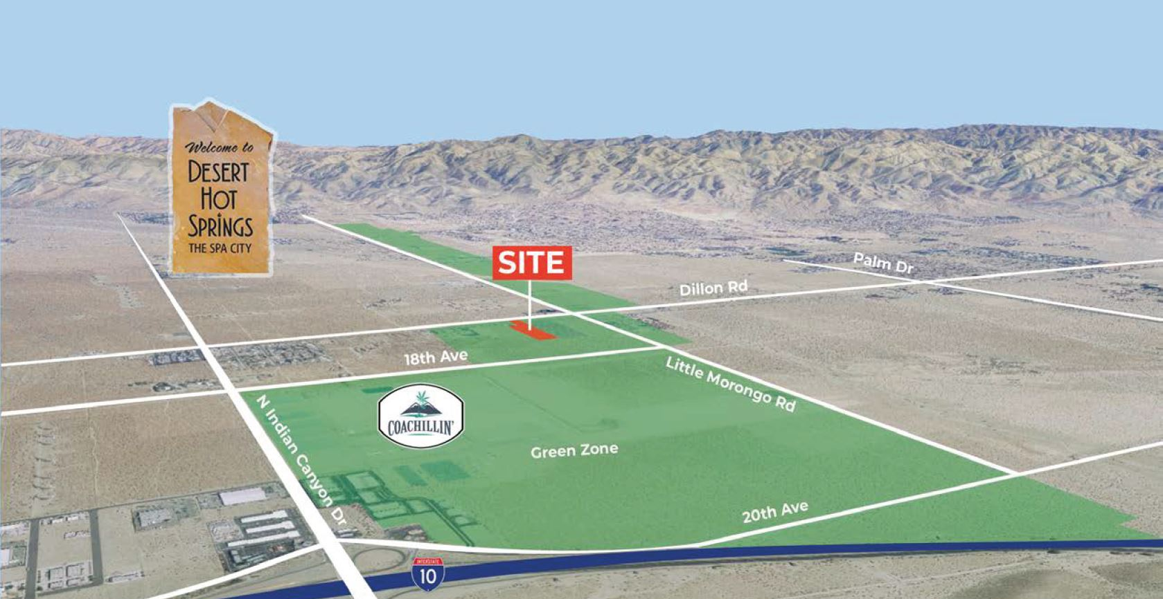 aerial image of 8.5 acres industrial land for sale at dillon road desert hot springs california