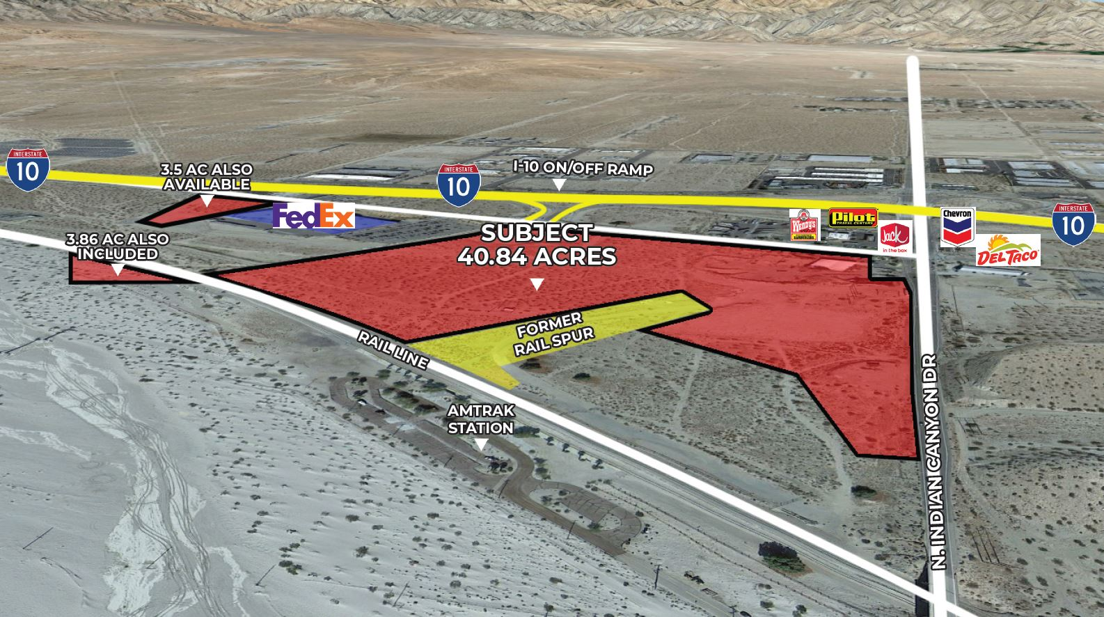 another aerial of 40.84 acres of industrial land for sale at idian canyon drive palm springs california