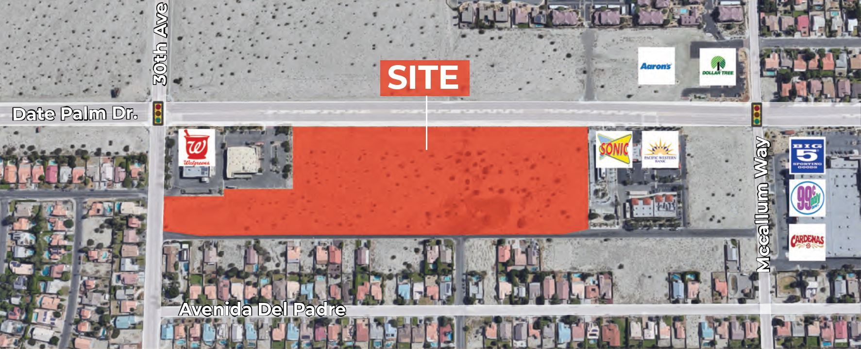 zoomed in aerial of 16 acres commercial land for sale at date palm drive cathedral city california
