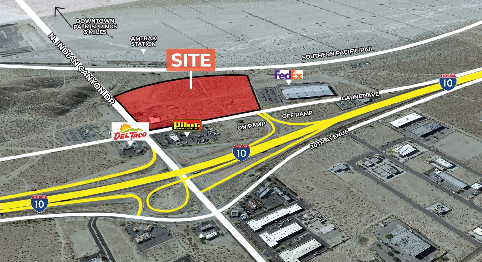site aerial of 40.84 acres of industrial land for sale at idian canyon drive palm springs california