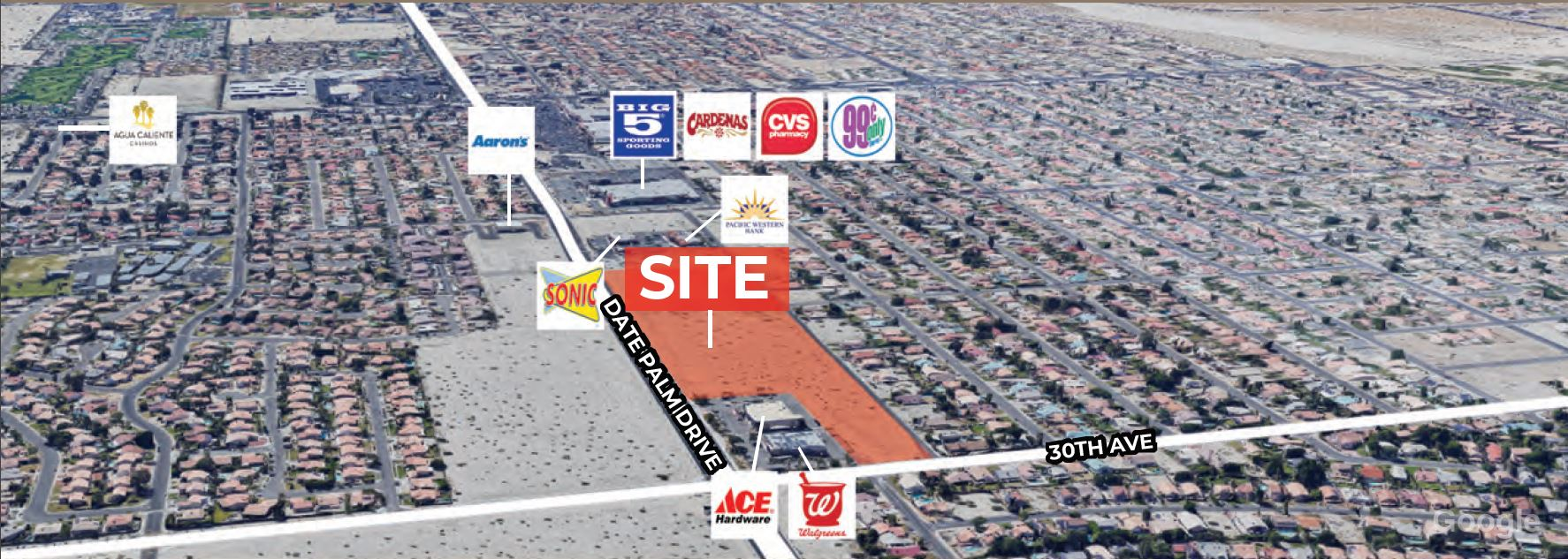 aerial image of 16 acres commercial land for sale at date palm drive cathedral city california