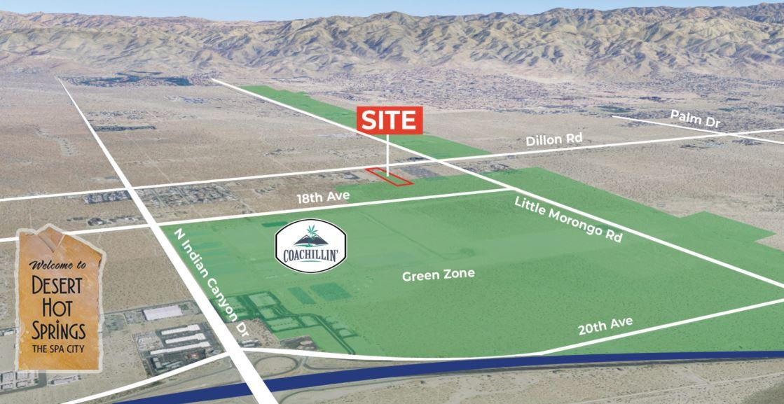 aerial map of land for sale on dillon road coachella california