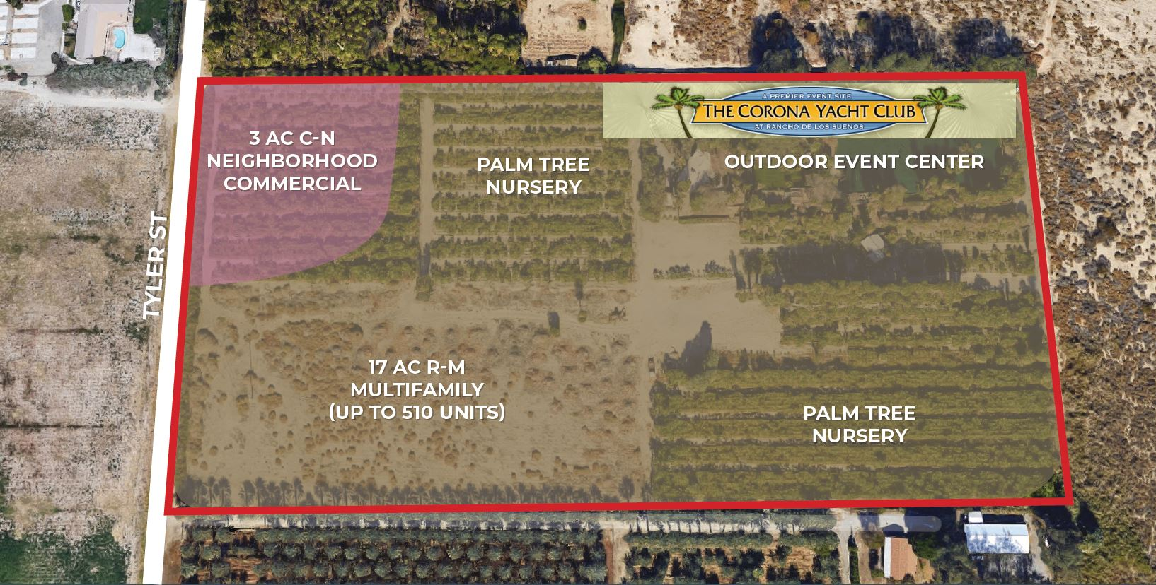 zoning and aerial map of 20 ac corona yacht club