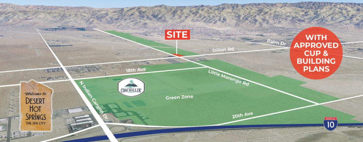 aerial map for 6.67 acres land for sale in little morongo road coachella valley california