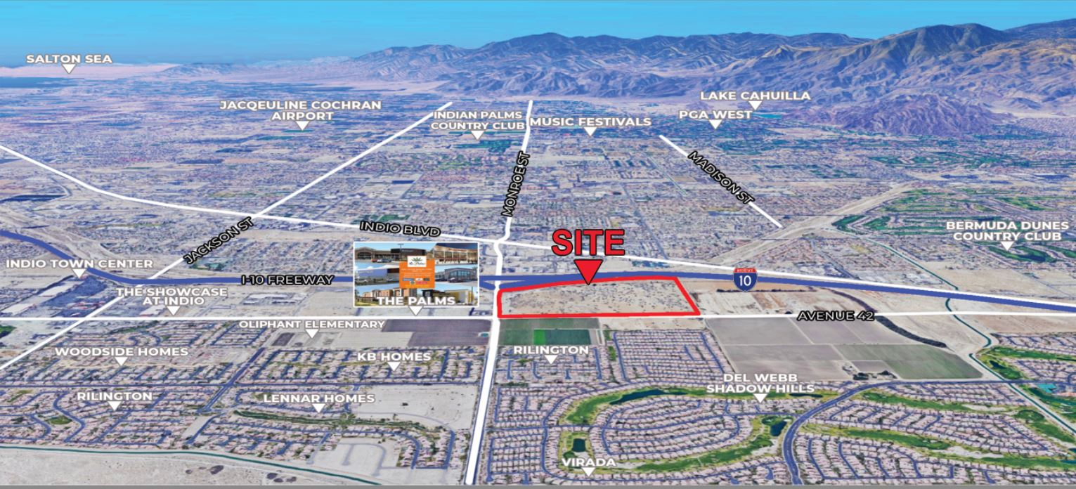 aerial map of 101.61 acres land for sale in monroe street indio california
