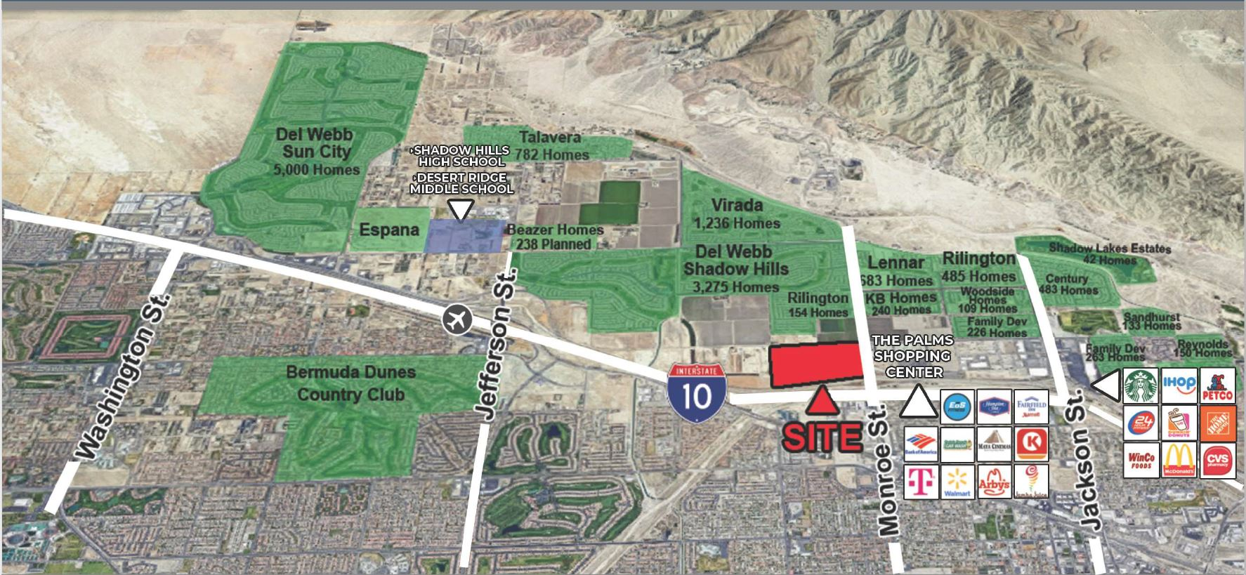 aerial map of 101.61 acres land for sale at monroe street indio california