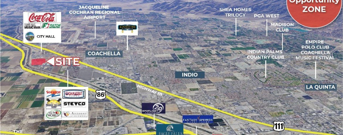 aerial map of 49 acres land for sale at expressway 86 coachella california