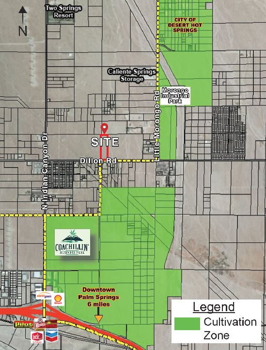 a map of 9.48 acres industrial land for sale in dillon road desert hot springs california