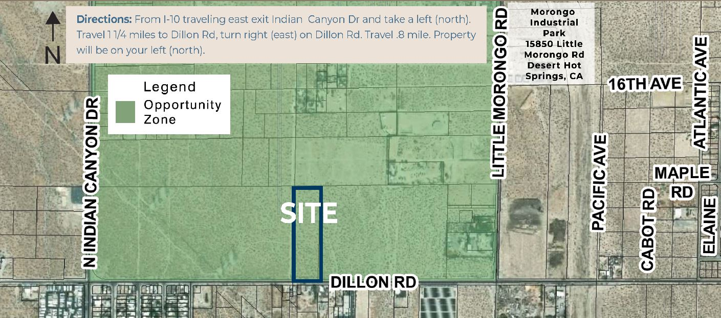 zoomed in map of 9.48 acres industrial land for sale in dillon road desert hot springs california