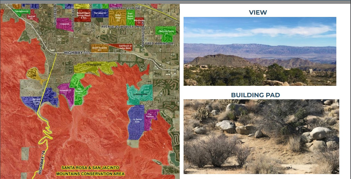 map and mountain view photo for 2.27 acres ranch land for sale in coachella valley california