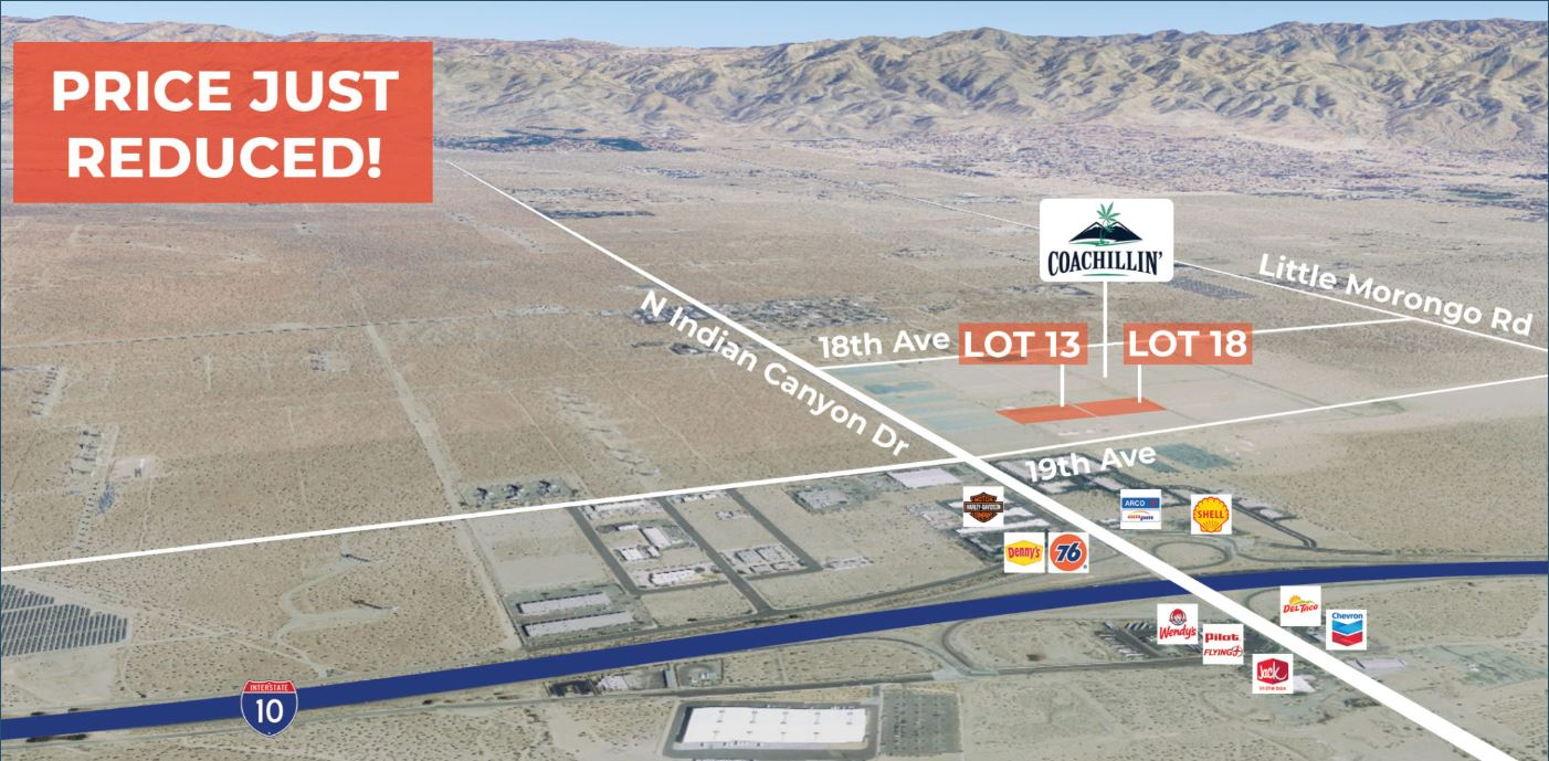 aerial map for 3.27 acres land for sale in coachillin coachella valley california