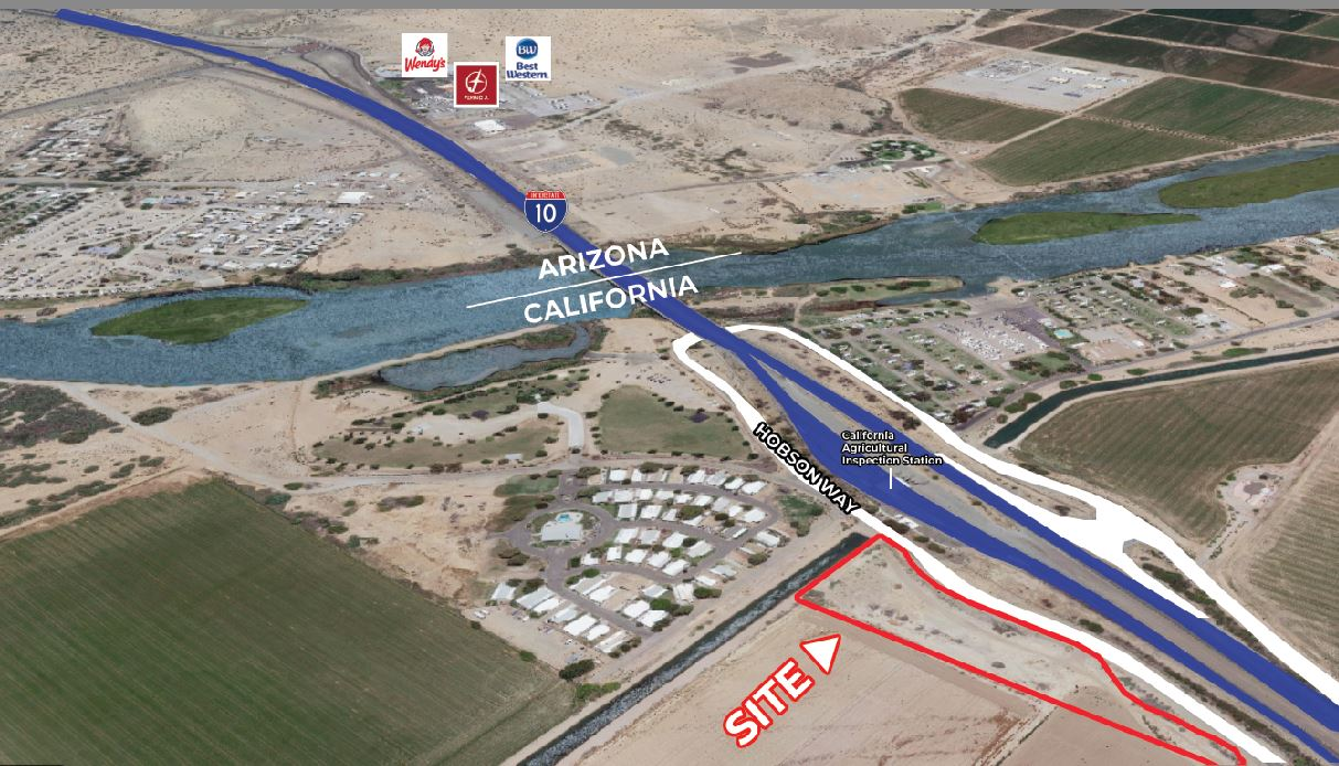 aerial map of 3.28 acres land for sale in hobson way blythe california