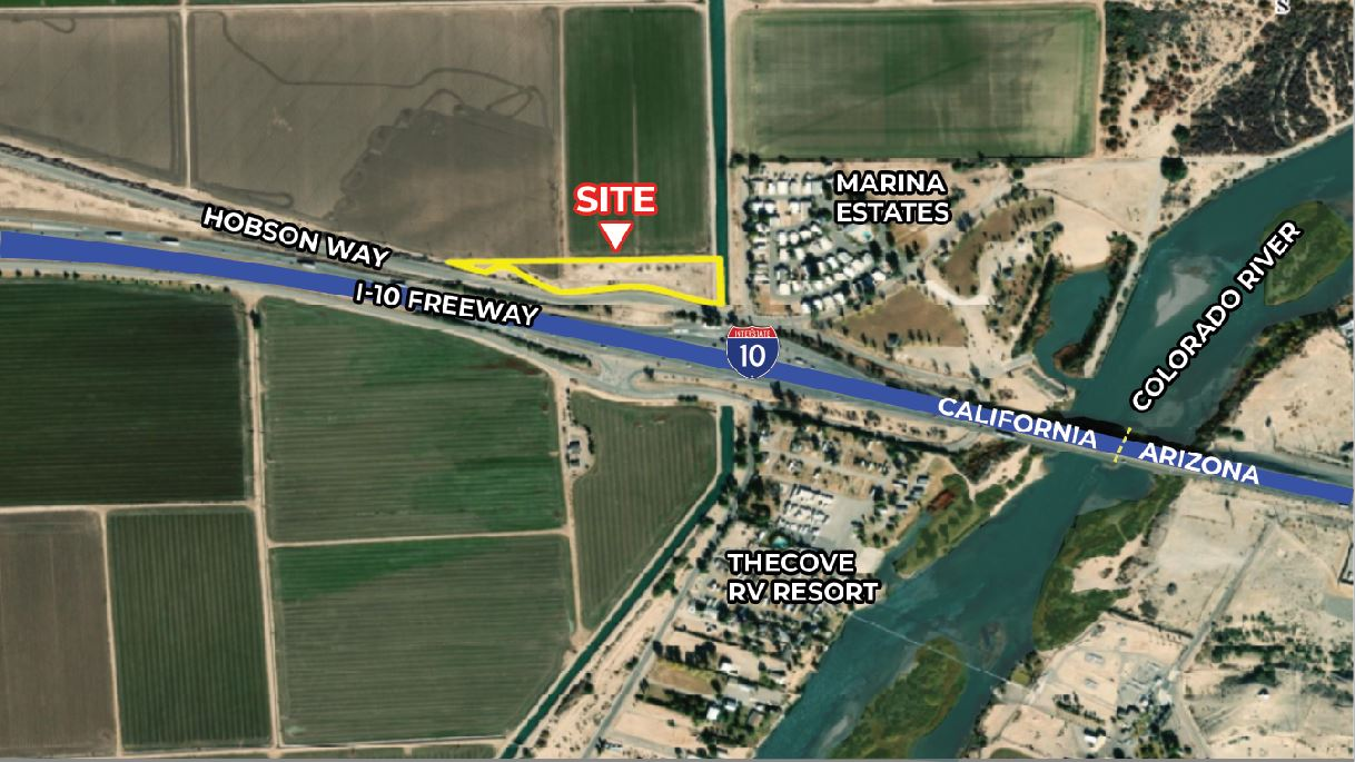 another angle of aerial map for 3.28 acres land for sale in hobson way blythe california
