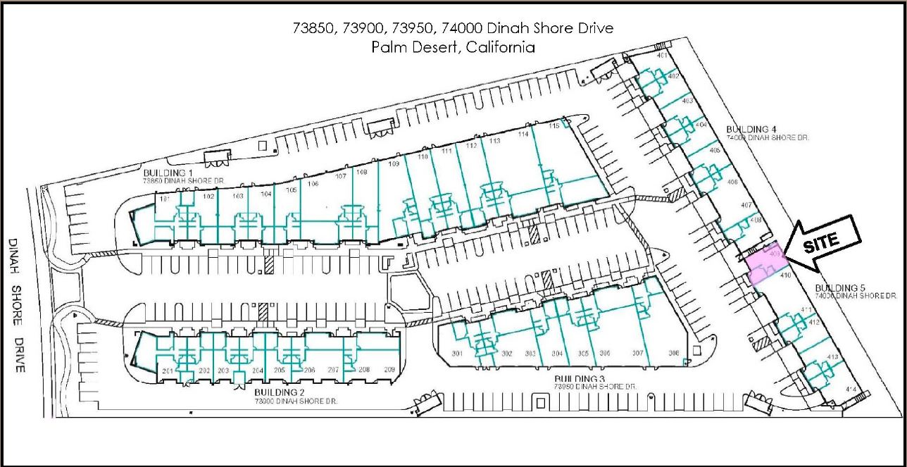 site plan of the industrial condo for sale in 74000 dina shore drive coachella california