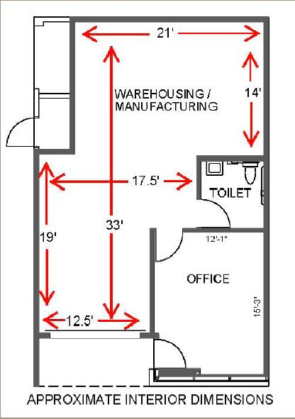 floor plan of the industrial condo for sale in 74000 dina shore drive coachella california