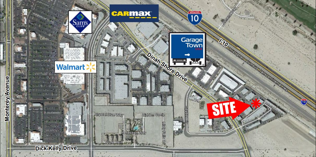 aerial map of 5320 squarefoot industrial building for sale in 73810 dinah shore drive coachella california