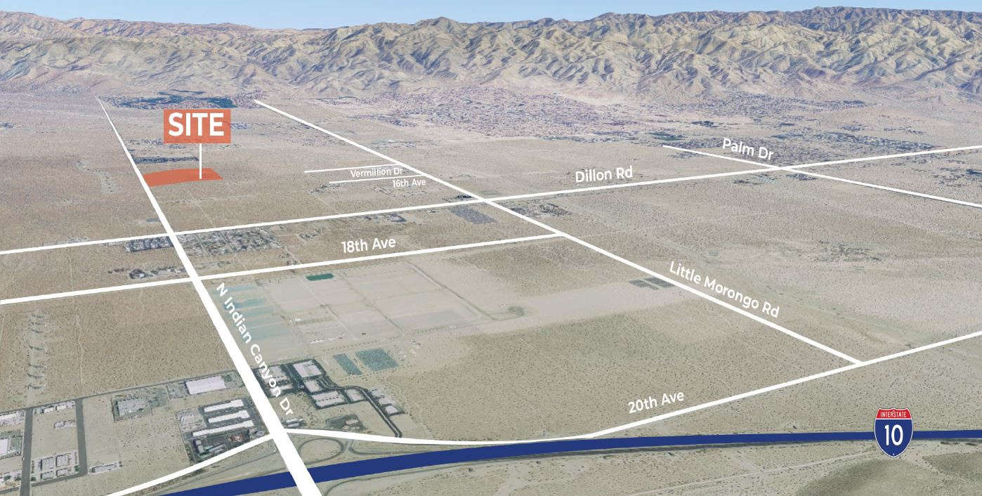 aerial map of 10000 squarefoot warehouse for lease on 15110 north indian canyon drive coachella california