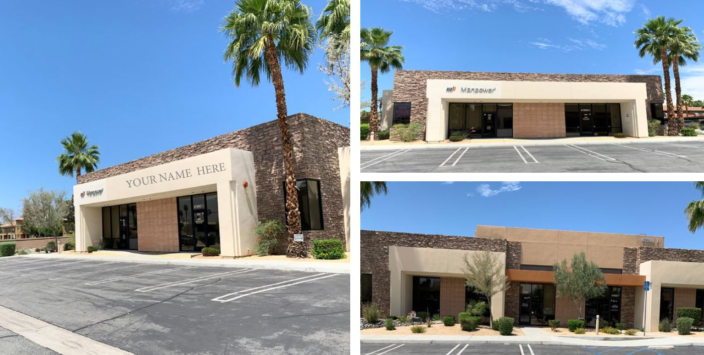 exterior photo of the office area of 1833 squarefoot office space for lease in 41990 cook street building 802 palm desert california