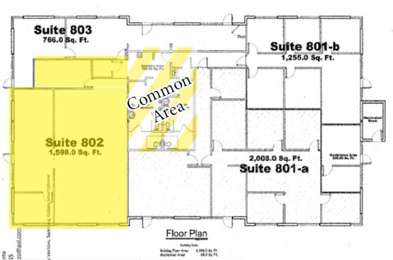 floor plan of 1833 squarefoot office space for lease in 41990 cook street building 802 palm desert california