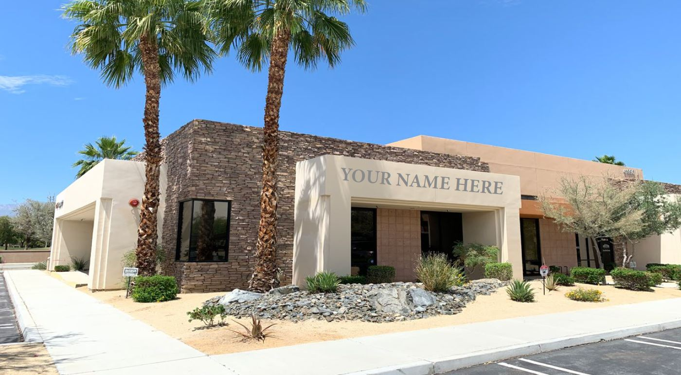 front photo of the building of 1833 squarefoot office space for lease in 41990 cook street building 802 palm desert california