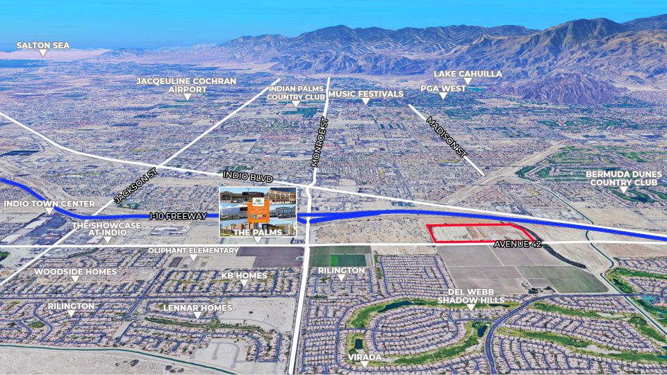 aerial map of 61 acres in monroe street indio