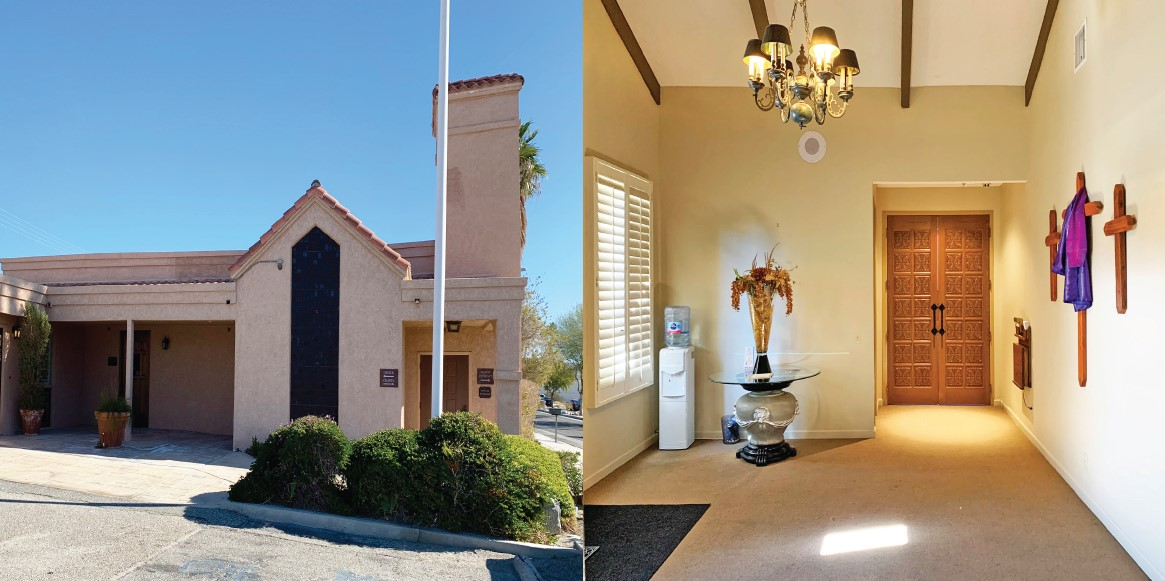 exterior and interior photo of 5500 squarefoot building on 0.75 acres lot in 66272 pierson boulevard desert hot springs california