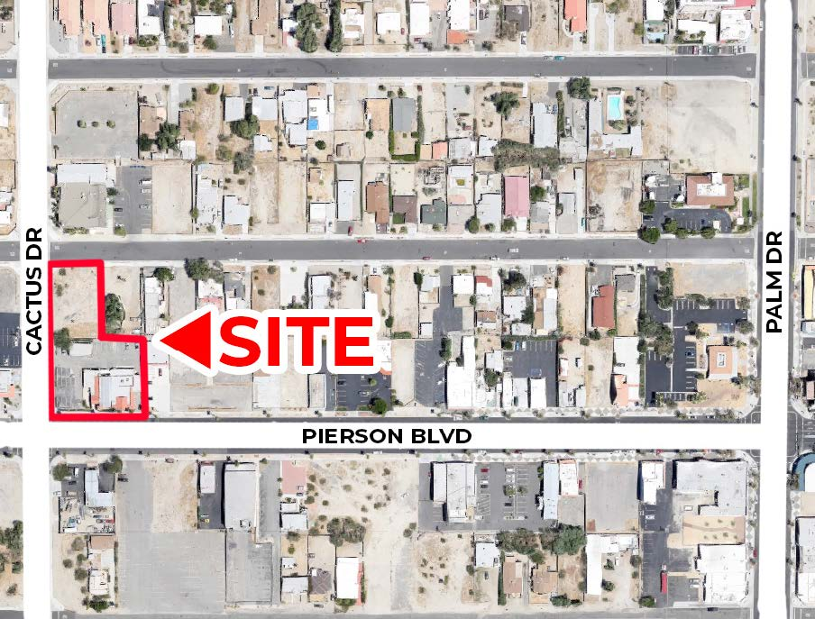map of 5500 squarefoot building on 0.75 acres lot in 66272 pierson boulevard desert hot springs california