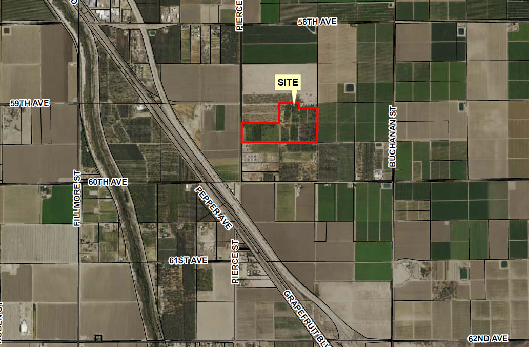 zoomed in map of 55 acres organic farmground in avenue 60 mecca california