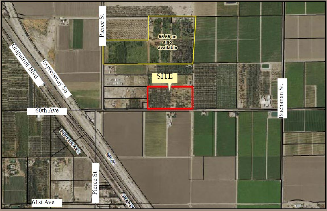 zoomed in map of bianco 20 acres organic date ranch in thermal california