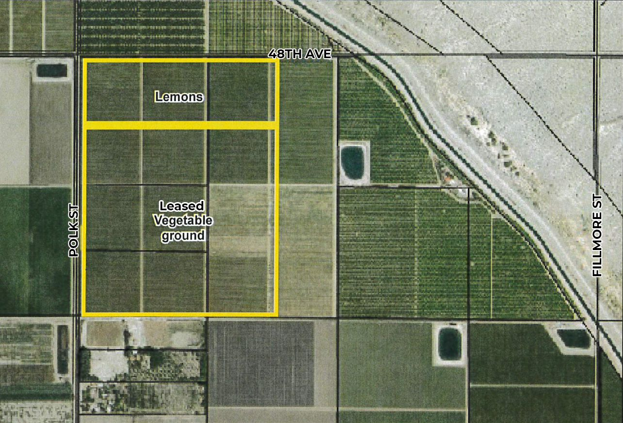 zoomed in map of 120 acres lemons and farmground in polk st and avenue 48 coachella california