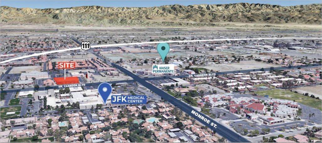 aerial map of suite c 1000 squarefoot for lease in doctor carreon boulevard indio california
