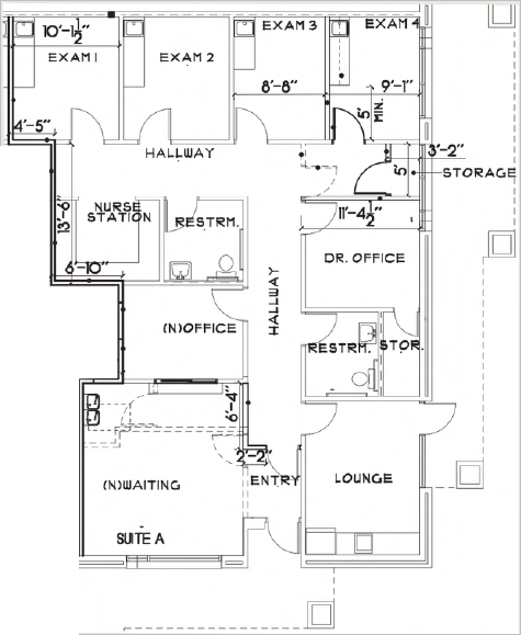 blueprint of suite a 1524 squarefoot for lease in doctor carreon boulevard indio california