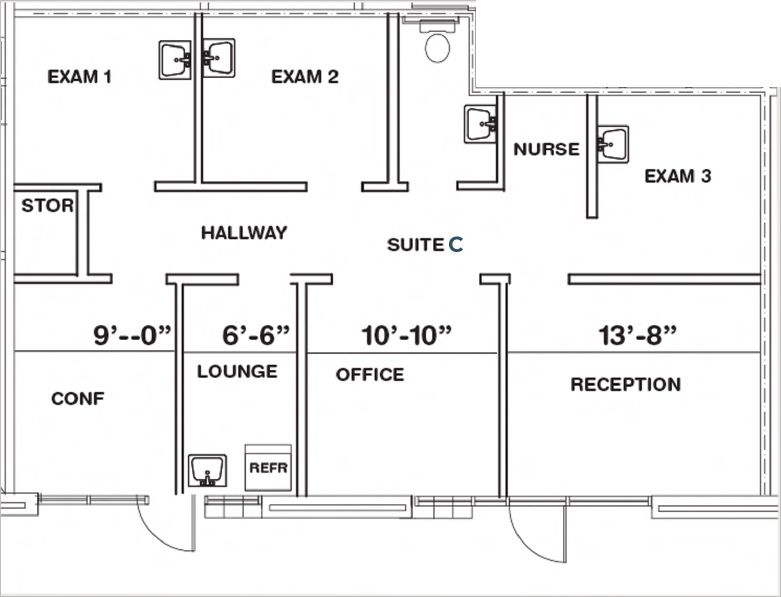blueprint of suite c 1000 squarefoot for lease in doctor carreon boulevard indio california
