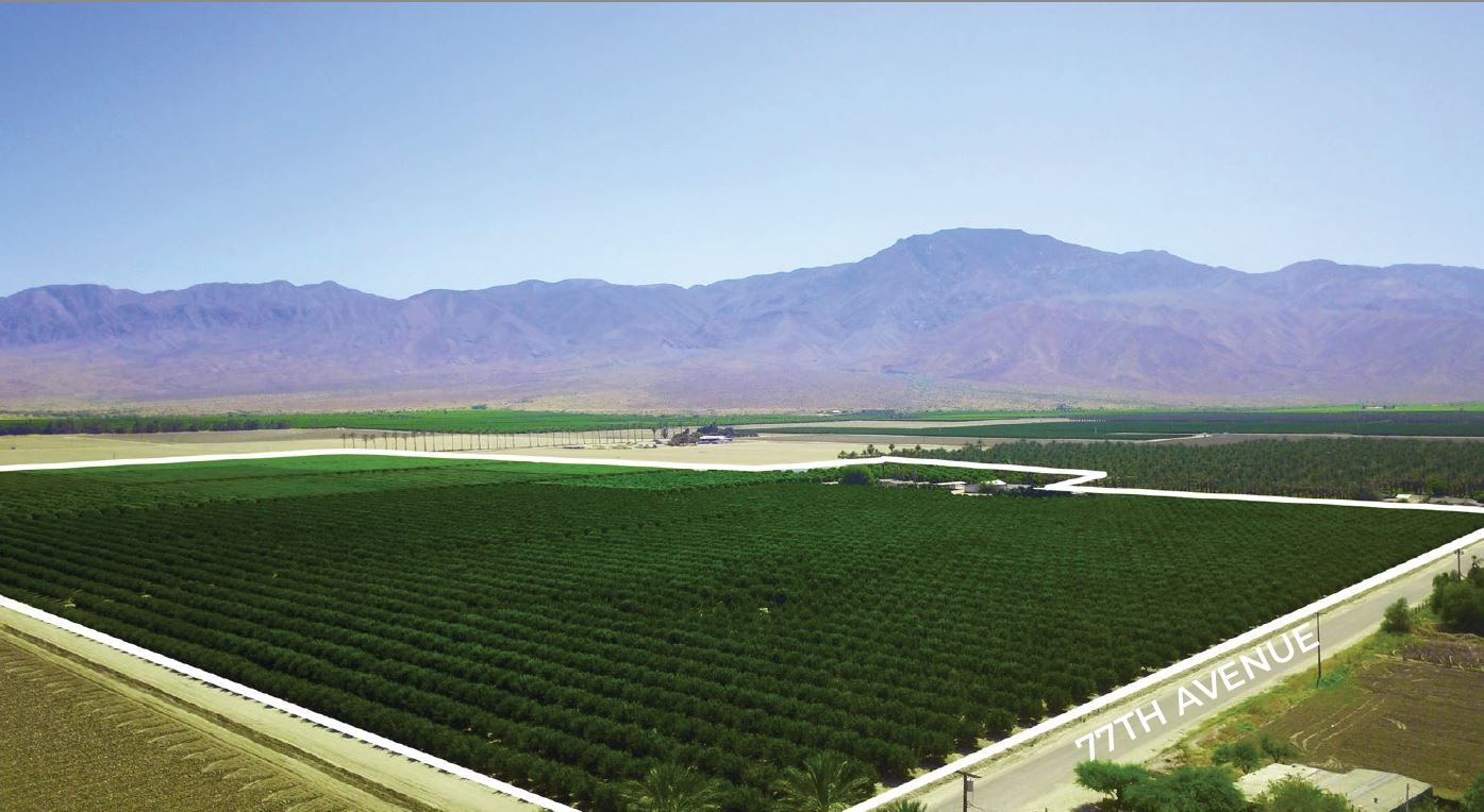 another angle of aerial photo of 83.18 acres marita citrus ranch in 77th avenue oasis california