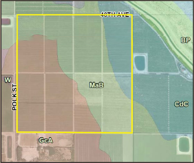 soil map of 120 acres lemons and farmground in polk st and avenue 48 coachella california