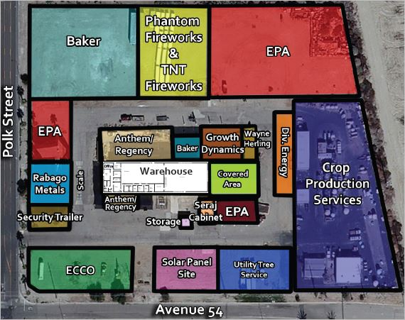 a map of 10 acres warehouse in cannabis overlay in 53800 polk street desert hot springs california