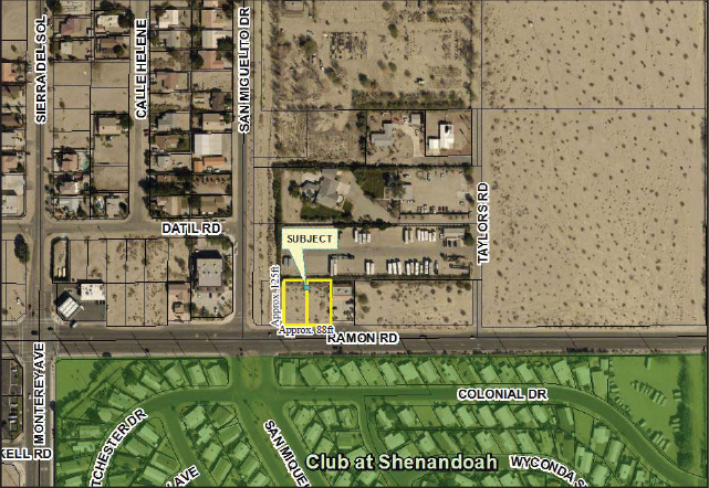 a plat map of 0.40 acres land in ramon road and monterey avenue in thousand palms california