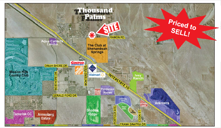a map with location of 0.40 acres land in ramon road and monterey avenue in thousand palms california