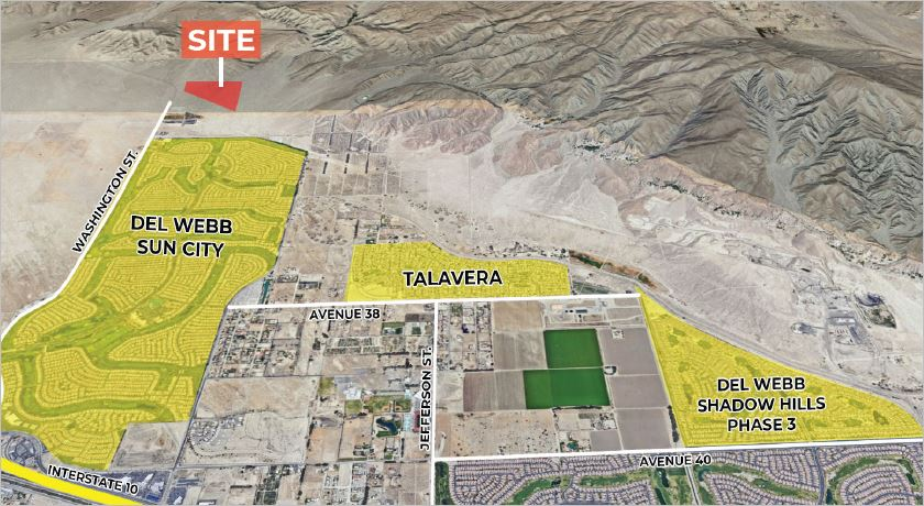 aerial map of 15.44 acres ranch land for sale in washington street indio california
