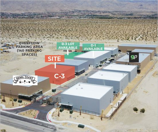 an aerial photo that shows the building of 11,763 square foot building for lease located in morongo industrial park