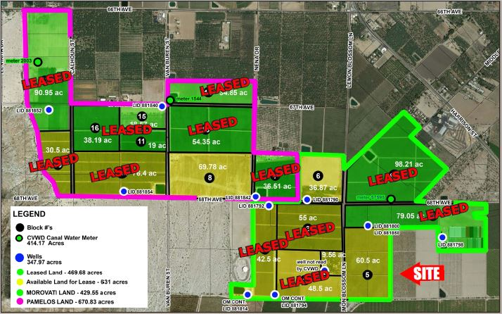 a map of 167.15 farmground for lease in avenue 66 and lemon blossom way thermal california