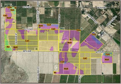 a plat map of 167.15 farmground for lease in avenue 66 and lemon blossom way thermal california