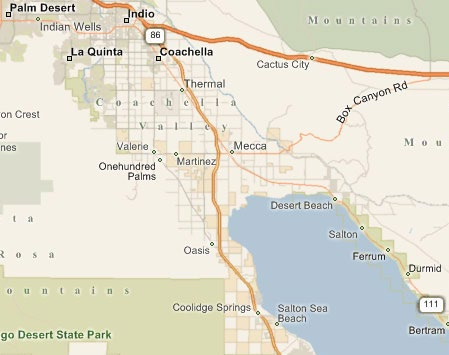 a map that shows the vicinity area of 167.15 farmground for lease in avenue 66 and lemon blossom way thermal california