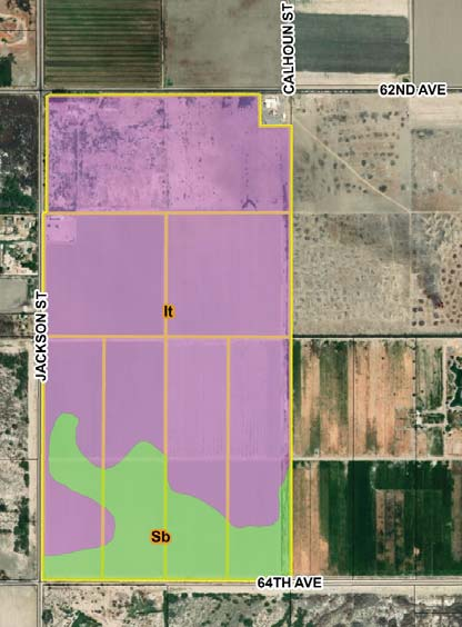 a soil map of 194.95 acres farmground for lease in avenue 62 and jackson street vista santa rosa california