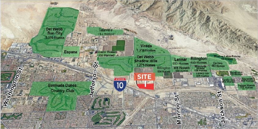 an aerial view of 22.08 acres land for sale on interstate 10 freeway and monroe street indio california