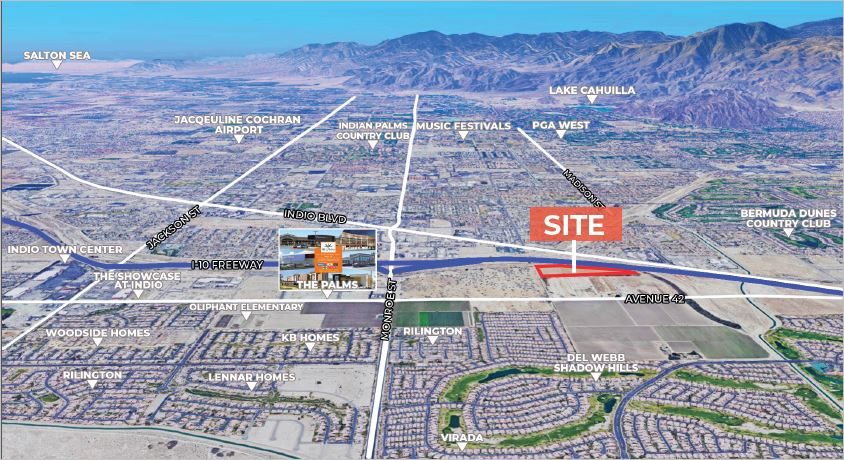 another angle of aerial view of 22.08 acres land for sale on interstate 10 freeway and monroe street indio california
